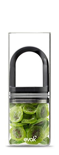 Best PREMIUM Airtight Storage Container for Coffee Beans, Tea and Dry Goods - EVAK - Innovation that Works by Prepara, Glass and Stainless, Black Gloss Handle, Large by Prepara