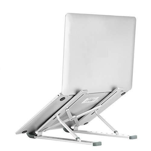 Soporte para computadora portátil, Soporte de Aluminio Ajustable para computadora portáti teléfono Inteligente con 10 Niveles de Altura Soporte de Escritorio Elevador portátil Plegable - Plata
