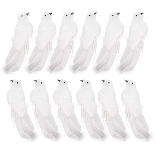 YLSZHY 12 pájaros de plumas artificiales, palomas blancas de Navidad con clip para decoración de árbol de Navidad, manualidades, adornos para fiestas, bodas, decoración de Navidad