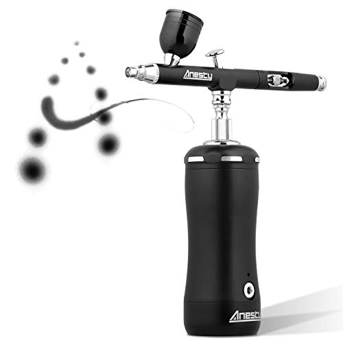 Anesty Cordless Automatic Airbrush Kit, Portable Airbrush Kit with Compressor for Makeup,Cake Decoration,Barber, Painting Model,Painting Nail