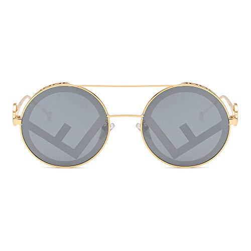 Moda Hombres Y Mujeres Clásicos SSunglasses Hombres Y Mujeres Gafas De Sol Retro Redondo Gafas De Sol Gafas De Sol De Metal Retro-Golden_Gray