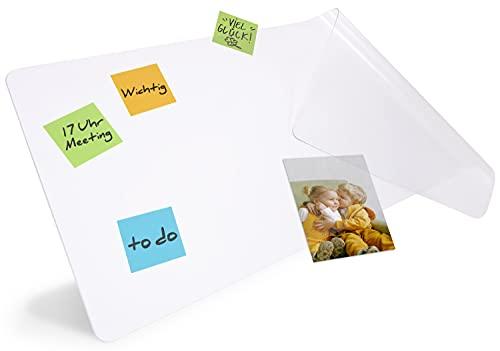 HAMZAM® Schreibtischunterlage transparent, inkl. Klebepunkte, rutschfeste Schreibunterlage, runde Kanten,abwischbar, Schreibtischunterlage für Home&Office (90x40cm), Mauspad