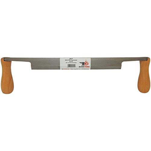 SHW-FIRE 59075 Zugmesser Ziehmesser Rindenschäler Entrindung Gerade mit Griff Holzgriffen Heft Holzheft 25cm
