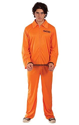 ORION COSTUMES Herren Strafgefangenenkleidung Orange Overall Halloween Maskenkostüm