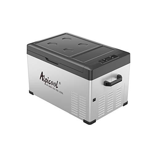Alpicool C30 Portable Refrigerator 12 volt Car Freezer 32 Quart(30 Liter) Vehicle, Car, Truck, RV, Boat, Mini Fridge Freezer for Travel, Outdoor -12/24V DC (Black and Silver)