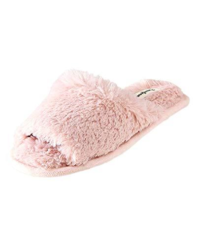 Dearfoams Cindy - Zapatillas de Piel para Mujer, Rosado (Dusty Pink), Small