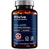 DHA Mini Omega Fatty Acids for Brain Eye Support 1,000 MG, Omega Fatty Acids, 120 Softgels, by Vthrive