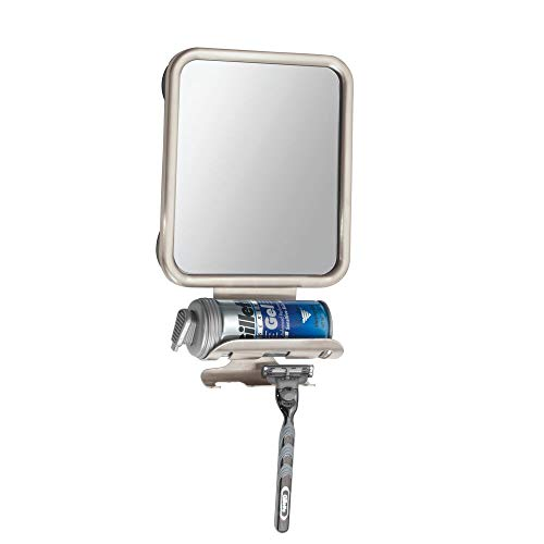 mDesign Large Modern Metal Suction Shaving Mirror Center for Bathroom Showers and Tubs - Holders for Shaving Cream and Razors - Satin