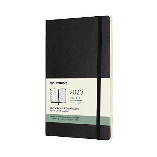 Moleskine 12 Months Agenda Weekly 2020, Soft Cover and Elastic Closure, Black Color, Large 13 x 21 cm, 144 Pages