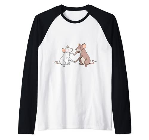 Rat Love Heart I Cool Rats Re e Mouse Motivo Maglia con Maniche Raglan