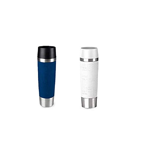 Emsa Standard-Design Travel Mugs, blau/weiß, 2 x 500ml