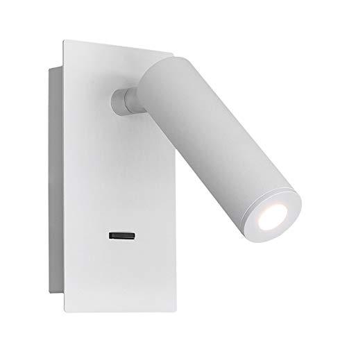 Lámpara de pared LED moderna Foco en el interior, aplique de pared de apliques ajustables, luz nocturna con interruptor, iluminación cálida de 3 W, para dormitorio, pasillo, porche, baño y estudio