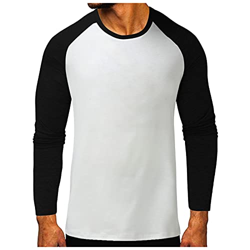 Xmiral Maglietta da Uomo a Maniche Lunghe con Scollo Rotondo T-Shirt Top Uomo Casual Basic Camicetta Manica Lunga con Cuciture Tinta Unita (XL,1nero)