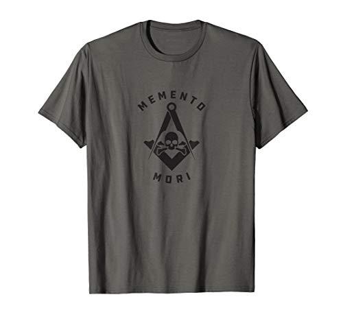 Mens Memento Mori Masonic Symbol Black Skull T-Shirt
