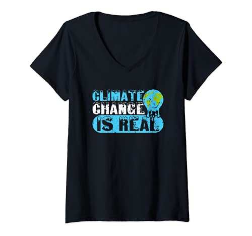 Mujer El cambio climático es real Activismo Medioambientalismo Camiseta Cuello V