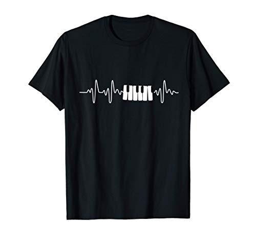 Geschenk für Keyboard-Spieler Herzschlag Klavier T-Shirt