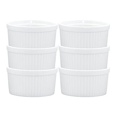 HIC Ramekins, Fine White Porcelain Souffle, 3-Inch, 4-Ounce Capacity, Set of 6