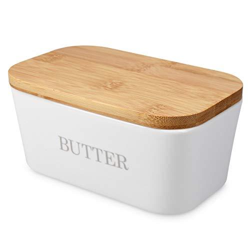 Navaris Keramik Butterdose mit Bambusdeckel - mit Silikon Dichtungsring - 16 x 10 x 7,7cm - für Butter und andere Lebensmittel - Butterglocke weiß