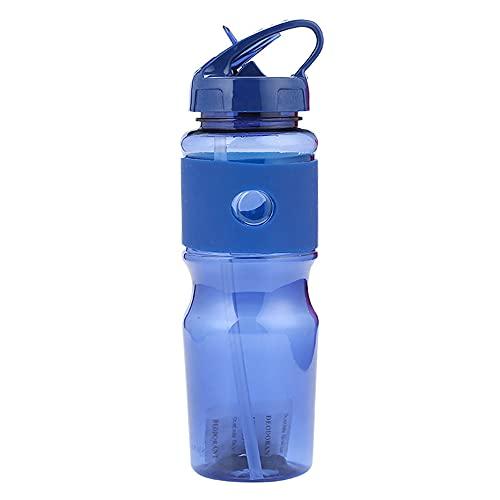 Ruoning, bottiglia sportiva in plastica a prova di perdite, borraccia flip-top, può essere riutilizzata in palestra e all'aperto blu 720 ml