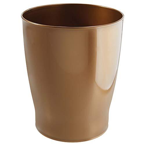 mDesign Papelera de baño – Prácticas papeleras de plástico resistente y robusto para cosméticos – Elegantes cubos de basura de gran estabilidad – color cobre