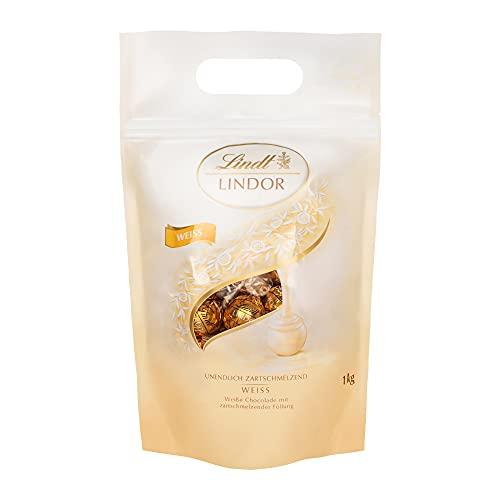 Lindt LINDOR Weiß, weiße Schokoladen-Kugeln mit zartschmelzender Füllung - ca. 80 Kugeln, 1 kg