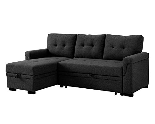 ICE ARMOR 99-9489CGY 84''Wide Reversible Sleeper Sectional Sofa with Pull-Out Bed and Storage Chaise in Charcoal Grey Finish