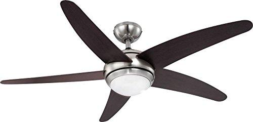 Deckenventilator mit Beleuchtung und Fernbedienung Leise Deckenleuchte mit Ventilator (3 Stufen, Deckenlampe, 132 cm, Rechts Links Lauf, Braun)