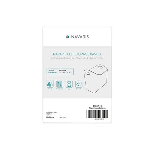 Navaris 2X Cesta de Fieltro para Almacenamiento – Set 2X Bolsa Rectangular de 40 x 23 x 39.5 CM – Cesto para almacenar…