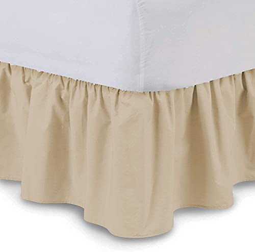 Ruffled Bed Skirt (Queen, Taupe) 15 Inch Drop Dust Ruffle with Platform, 100% Cotton 800 Thread Count Fabric, Gathered Styling, Available in All Bed Sizes and 23 Colors - Bedskirt