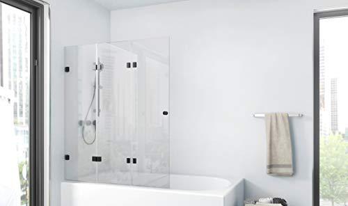 Duschwand Gallery 120 x 140 cm - 3-teilig faltbar - beidseitig montierbar - 4mm starkes Einscheibensicherheitsglas - matt schwarzes Design