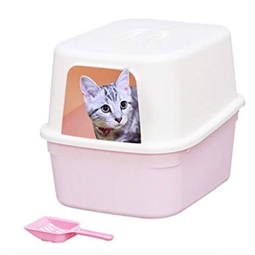 Bangxiu-PT Caja de Arena para Gatos Grande con Frente Abierto y Alto-Escudo previene Que la Basura de Mascotas se derrame Limpieza más fácil (Color : Rosado, tamaño : 50 * 37 * 40cm)