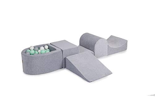 MEOWBABY Spielset mit Bällebad 200x45cm/100 Bälle Schaumspielblöcke Kinderzimmer Schaumspielset Schaummodul Spielplatz Made in EU Hellgrau: Mint/Grau/Weiß