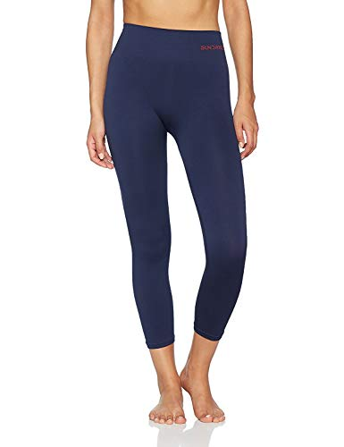 Sundried Frauen geerntete Leggings 3/4 Capri Tights Yoga Lauf Gym Training (Blau, S)