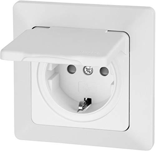Enchufe para ambientes húmedos con tapa abatible IP44, todo en uno, marco + inserto + cubierta + anillo de silicona, C1, color blanco
