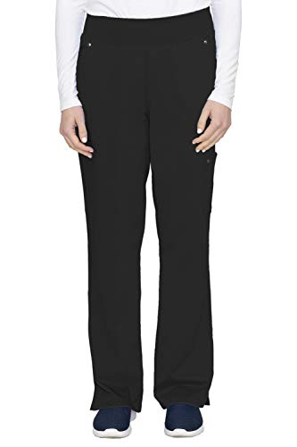 healing hands Purple Label Yoga Women's Tori 9133 5 Pocket Knit Waist Pant Scrubs- Black- Small