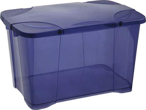 Eda plastique boîte de Rangement clip'box 60 l - Bleu Couvercle avec charniere - 60 x 40 x 40 cm