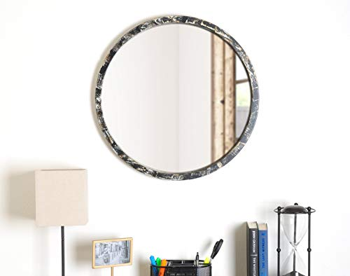 "BrandtWorks AZ-Mround2 Hand Painted 24.75"" Round Mirror, 24.75 x 24.75, Black"