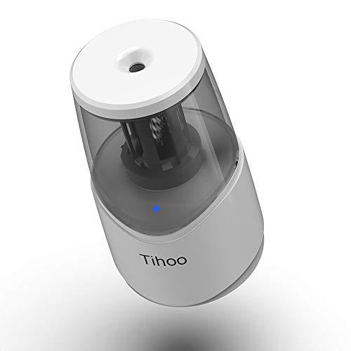 Tihoo電動シャープナー鉛筆削りUSB充電ムダ削り防止子供学校事務用(白)