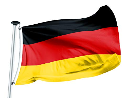 FLAGLY Premium Fahnen & Flaggen 100 x 150 cm -160g/m² Stoffgewicht - handgefertigt, Robustes und witterungsbeständiges Schiffsflaggentuch mit Ösen, Nationalfahnen (100 x 150 cm, Deutschland)