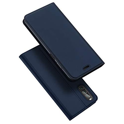 DUX DUCIS Hülle für Sony Xperia 10 II, Leder Flip Handyhülle Schutzhülle Tasche Hülle mit [Kartenfach] [Standfunktion] [Magnetverschluss] für Sony Xperia 10 II (Blau)