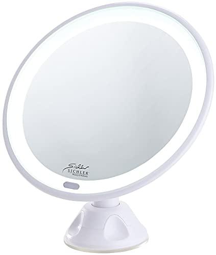 Sichler Beauty Schminkspiegel mit Licht: Saugnapf-Kosmetikspiegel mit LED-Licht und Akku, 5-fache Vergrößerung (Schminkspiegel beleuchtet)