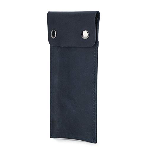 Reloj de cuero genuino suave Estuche de almacenamiento de viaje Estuche para reloj Estuche para guardar relojes Estuche para reloj de cuero vintage de moda (Azul oscuro)
