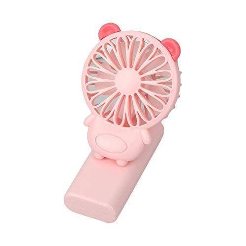 Yosemite Mini ventilador personal de escritorio USB lindo cerdo oso conejo USB recargable clip en ventilador 1-1.2h, 5500-6000 RPM para el hogar al aire libre – Oso rosa ^