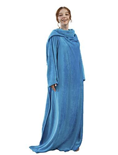 Winthome - Coperta con maniche, accogliente, morbida, calda, funzionale, per adulti e donne e uomini (blu)