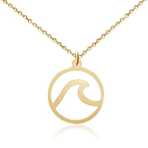Good.Designs ® Damen Halskette mit rundem Wellenanhänger (45cm lang) Wave Schmuck Strandschmuck Badeschmuck Gold goldene goldfarben Damenhalskette Damenkette Damenschmuck