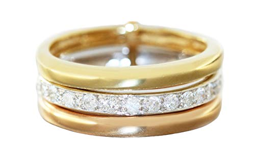 Hobra-Gold Anillo de oro 750 con brillantes de 0,50 quilates para mujer de 3 piezas en oro tricolor