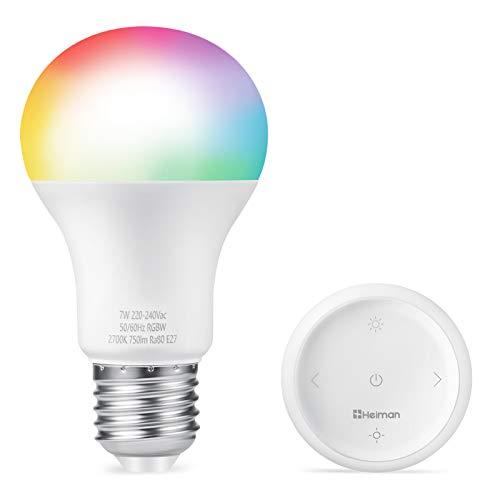 HEIMAN Bombilla Inteligente LED E27 con Mando Inalámbrico, con ZigBee 3.0, 7W Bombilla LED RGBW, 16 Millones de Colores, 750 Lúmenes [Clase de eficiencia energética A++]