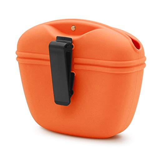 SENDR.KR Leckerlibeutel fur Hunde, Hundeleckerlibeutel aus Silikon für Hundetraining, Futterbeutel Hunde Tragbare Leckerli-Tasche mit magnetischem Verschluss und Taillen-Clip (orange)