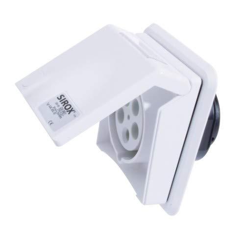 SIROX® CEE-Unterputzsteckdose, 5-polig, 400 V, 6 h Stromstärke 16 A, Farbe verkehrsweiß