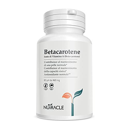 Nutracle Betacarotene 80 perle da 460 mg | Integratore per la vista Alta Concentrazione di Pro Vitamina A | Attivatore Abbronzatura Forte Intensificante